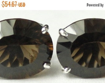 Summer Sale, 30% Off, SE102, 10x8mm Smoky Quartz, 925 Sterling Silver Post Earrings