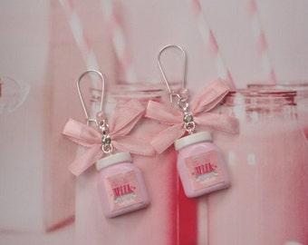 earrings milk bottle strawberry