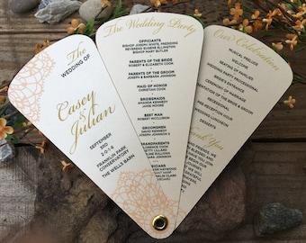 Wedding Programs • Fan Programs • Classy Elegance Wedding Programs • Blush Lace Fan Program • 3 petals Fan Wedding Programs • Fan Programs