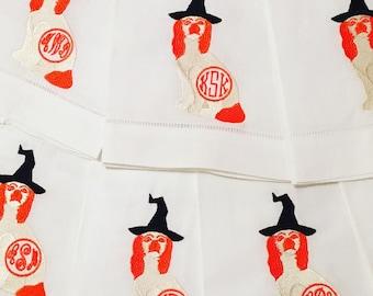 Monogrammed Halloween Staffordshire Dog on Linen Guest Towel
