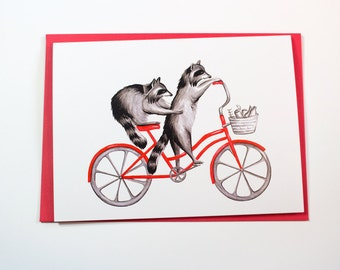 Raccoons on bike, cycling raccoons, raccoons card