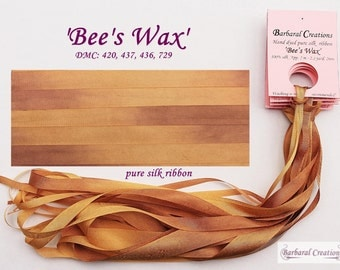 Hand dyed 7 mm wide pure silk ribbon, soie ruban - 'Bee's Wax'
