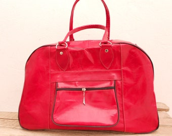 Red Womens Leather Travel Weekender Bag / Duffle Overnight Travel Luggage Leather Handbag , Groomsmen gift