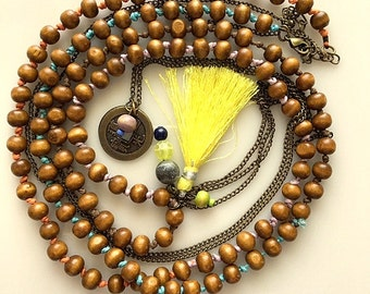Very Long Wooden Bead and Chain Double Layered Tassel and Chinese Coin Hand Knotted Necklace