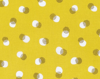 One yard - 1 yard - Buttons - Mustard - NOTEWORTHY by Erin McMorris for Westminster Fabrics