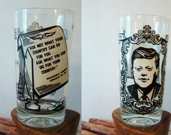 Vintage John F. Kennedy drinking glass, Amtsfield JFK glass, President Kennedy drinking glass