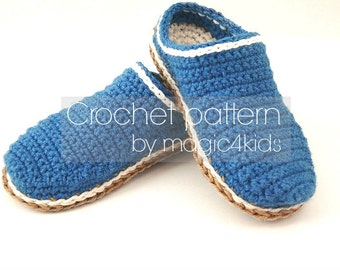 "Crochet pattern- basic clogs for kids,10 sizes: 5"" to 8 5/8"",rope soles pattern included,slippers,toddler,loafers,scuffs,flip flops,slip ons"