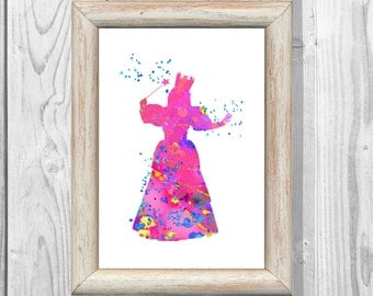 Glinda Good Witch Poster  Watercolor Poster Disney Wizard of Oz Poster  Wicked Witch Magic Art Print Wall Decor Instant Digital Download
