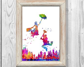 Mary Poppins Poster Watercolor Poster Watercolor  Art Print Giclee Wall  Art Print  Wall Decor  Home Decor Instant Digital Download