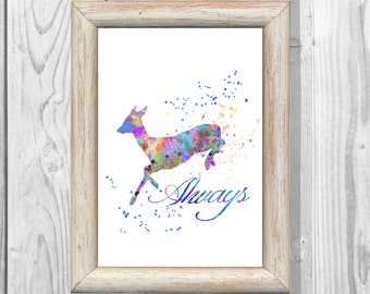 Snape's Patronus Severus Snape Poster Harry Potter Poster Watercolor Print  Instant Digital Download