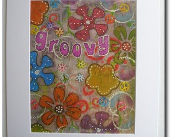 Mixed Media Matted Print - Groovy