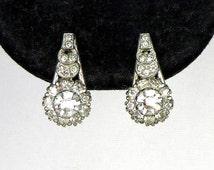 Antique Art Deco Sterling Silver & Clear Crystal Rhinestones Screw Back Earrings Uncas Mfg Co (Sorrento) ca.1930's Trending Vintage Jewelry