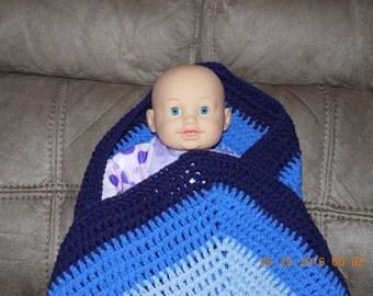 Blues Hexagon Crochet Baby Afghan, Blanket, Lap throw