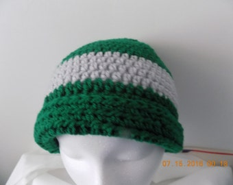 22---Green & Grey Stripe Beanie