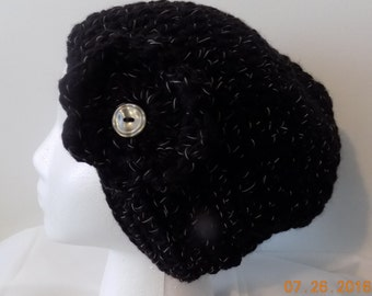 46---Black Beanie with flower accent