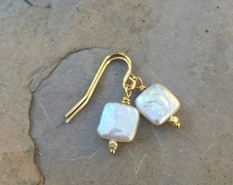 White Square Pearl Earrings with Gold Vermeil, 1 inch