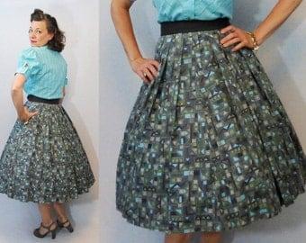 50s Skirt / 1950s Skirt / New Look Skirt / Circle Skirt / Full Skirt / Novelty Print Skirt / 50s Circle Skirt /  1950s Circle Skirt