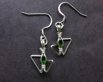 Wire Earrings - Diopside Danglers