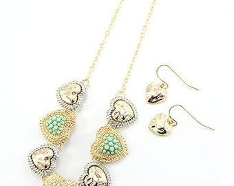 Linked Heart Charm Necklace Set, Heart Necklace, Mint Green Necklace, Valentine's Necklace Set