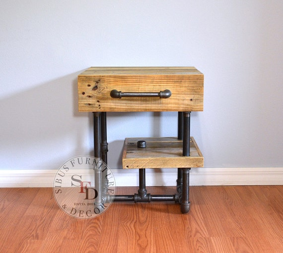 pallet nightstand pallet and pipes side table free. Black Bedroom Furniture Sets. Home Design Ideas