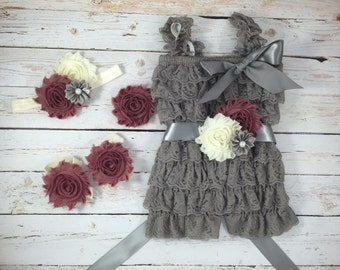 5pc SET- dust pink /ivory/gray/ Romper- Baby Girl Rompers  - Lace Baby Romper / headband / barefoot sandals