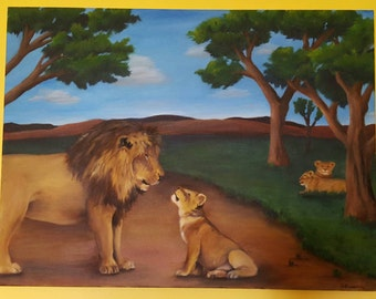 Original oil African lion and cub