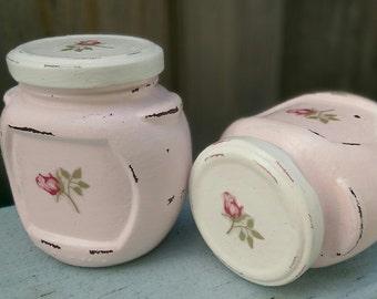 Pink Shabby Chic Glass Trinket Jar Painted Rosebuds Vanity Kitchen Storage Desk Bathroom Home Nursery Office Dorm Decor Housewarming Gift