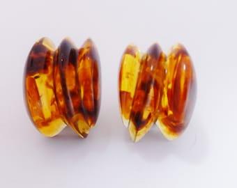 Lucite Earrings Gerda Lynggaard Monies, Chunky Golden Brown Vintage Designer Clip On Earrings, Copenhagen