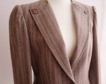 NEIMAN MARCUS Feminine 40s Style Gray and Purple Striped Wool Jacket Blazer | S M | Vintage