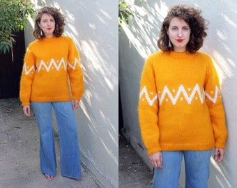 SALE Vintage 80s Sweater | 80s Wool Mohair Crewneck Oversized Sweater Marigold Zig Zag | Medium M Large L