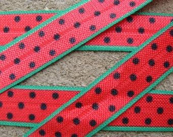 "3 yards 5/8"" Watermelon elastic Watermelon foe Watermelon headband Fruit elastic Fruit foe Fruit hair bows Watermelon hair bow - Watermelon"