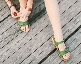 Leather Sandals, Leather Greenery Sandals, Women Sandals, Strappy Sandals, Women's Shoes, Flat Summer Shoes, Summer Shoes, Leather Flats