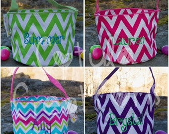 Personalized Easter Basket - Monogrammed Easter Basket - Easter Bucket - Easter Basket with Name - Flowers - Gingham - Dino - Chevron