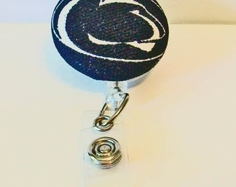 Fun Navy and White Nittany Lion Inspired Fabric Button Retractable Badge Reel Clip