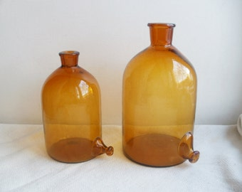Apothecary Bottle With Spout Below Medicine Bottle Medium Size Apothecary  Jar Amber Glass Gift Idea Gift