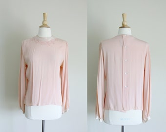 1940s Blouse | Embroidered Blouse | Button up Back Blouse | Pale Pink Blouse | Mel Hahn & Gilbert | Medium