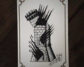 LIMITED Tower in Flames - Tattoo print 50/50 signed