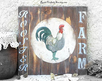 Rooster sign,Rooster Signs,Country Primitive  Decor,Rooster Kitchen Decor, Farmhouse Signs,Chicken Signs