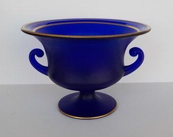 Grecian Urn Bowl - Cobalt Blue Satin Glass - 1930s