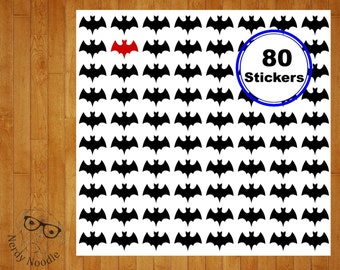 Bats Planner Stickers, 80, Bat Stickers, Bat Sticker Set, Bat Envelope Seals, Bat Envelope Stickers, Bats, Halloween Planner Stickers