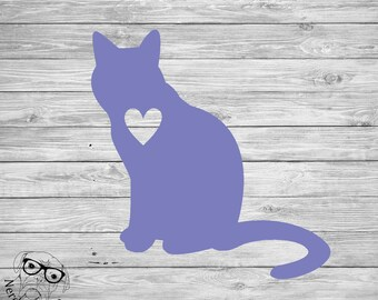 Cat Decal, Cat Window Decal, Cat Laptop Decal, Pet Decal, I love my Cat Decal, Cat with heart - You choose size and color.