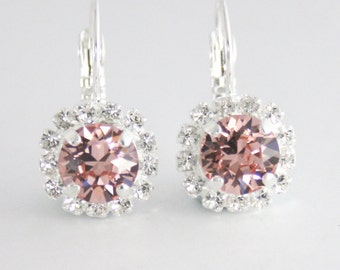 Swarovsk blush earrings,Blush pink crystal earrings,Silver blush pink earrings,Swarovski earrings,crystal earrings,silver blush wedding