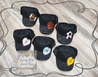 Football Hat, Soccer Cap, Softball Hat, Baseball Hat, Baseball Cap, Basketball Hat, Volleyball Hat, Distressed Trucker Hat