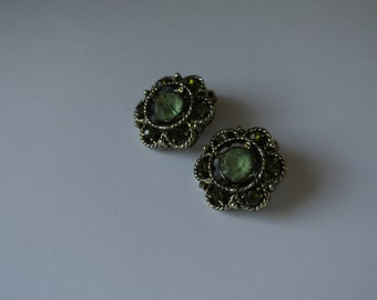 Weiss Clip On Earrings Green Stones Stamped Vintage Classy Gift for Her