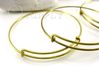 3 pc Raw Brass Wire Bracelet, Adjustable Bracelet Blank, Brass Bangle Bracelet, Charm Bracelet Supply, Raw Brass Jewelry Findings