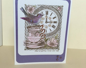 Stamped, Handmade card, Any Occasion Card, All Occasion Card, Birthday Card, Tea, Cup of Tea, Bird, Bird card, Nature card, Card for her