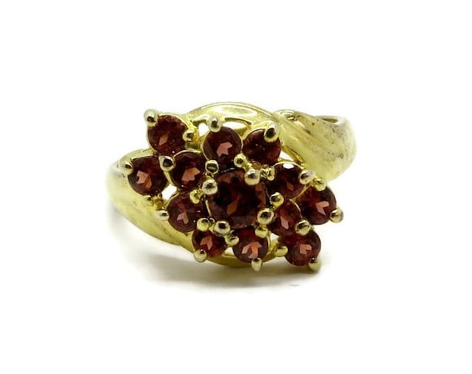 Garnet Glass Cocktail Ring, Vintage Gold Plated, Sterling Silver Ring, Size 5