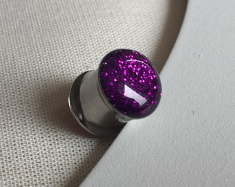 10mm rich purple glitter plug  stainless steel recycled, gauges, flesh tunnels, recycled resin