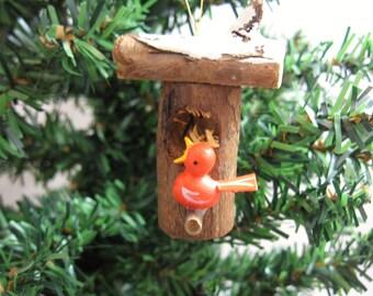 Primitive Bird House Christmas Ornament