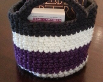 Crocheted Bag - Purple, White, Charcoal, Grey